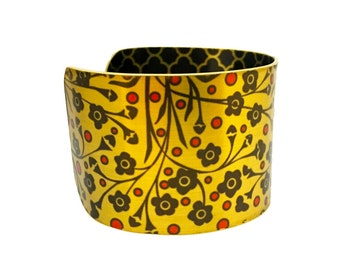 Bracelets for Women - Floral Print Cuff - Gold Cuff Bracelet - Metal Bracelet - Black Flowers - Limited Edition Jewellery