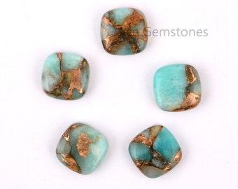 Flat Back Copper Amazonite 12mm Cushion Shape Gemstone, Cushion Cabochon Loose Gemstone, Genuine Gemstone, Gemstone For Jewelry -5Pcs