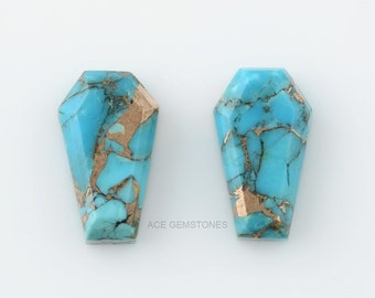 Blue Copper Turquoise 10x17 mm Coffin Shape Gemstone- Step Cut Coffin Gemstone Pair- Wholesale Coffin Gems Suppliers For Jewelry Making-2pcs