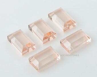 Morganite Quartz 9x15 mm Rectangle Shape Gemstones -Wholesale Loose Morganite Quartz Gemstones -Cabochons For Jewelry Making -5Pcs