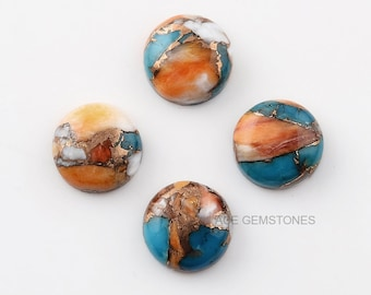 Mohave Copper Oyster Turquoise Round Shape 10x10mm Gemstone-Gemstone Cabochon Supplier-Copper Oyster Turquoise-Wholesale Gemstone-5 pcs