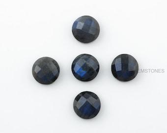 Natural Labradorite 10x10 mm Round Shape Gemstone- AAA Grade Blue Fire Labradorite Gemstone-Calibrated Cabochon- Loose Gemstones -5 pcs
