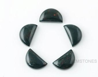 Bloodstone 10x16 mm Half Moon Shape Gemstone-Jewelry Making Gemstone-Wholesale Gemstone-Calibrated Cabochons-Bloodstone Gemstone- 5pcs