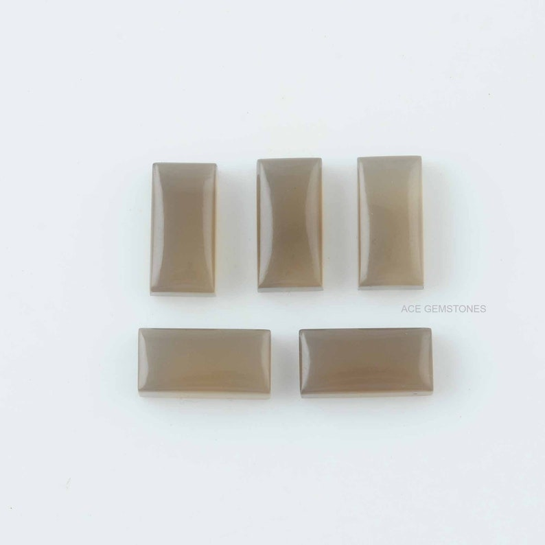 Grey Chalcedony Rectangle 8x16 mm Gemstone-Wholesale Gemstone-Loose Gemstone for Jewelry Supplies-5Pcs