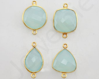 Aqua Chalcedony Gold Plated Sterling Silver Bezel Station Connector and Charm, 1 piece