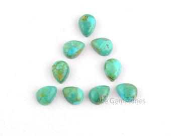 Arizona Turquoise Pear Smooth Calibrated Cabochons, Wholesale Loose Gemstone for Making Jewelry - 10 Pcs.