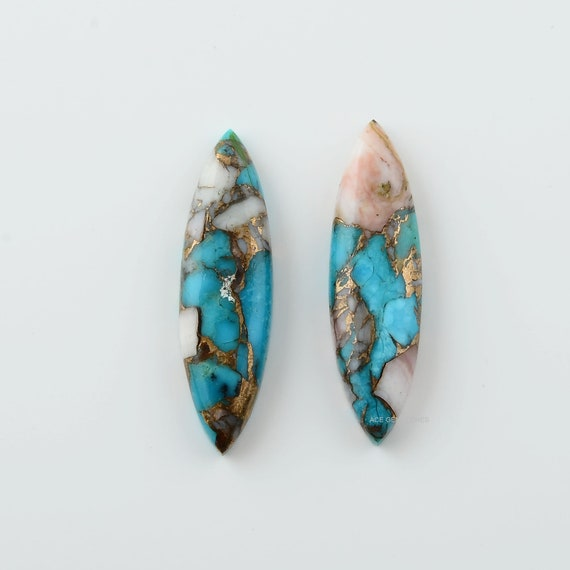 Long Oval Turquoise Cabochon Turquoise For Jewelry Making-2Pcs Flat Back Cabochons Pink Opal Copper Turquoise 10x35 mm Long Oval Gemstone