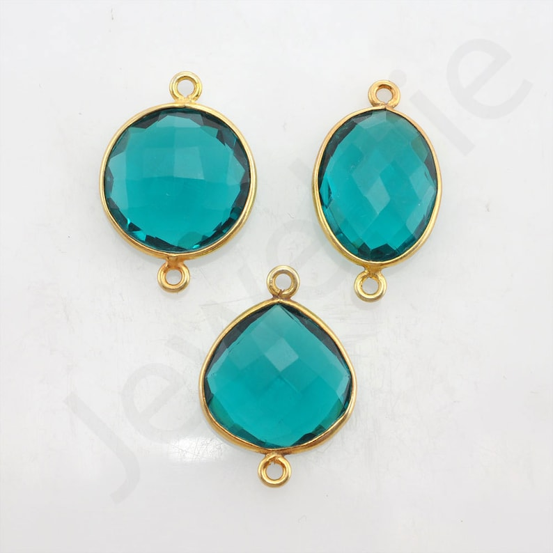 pendant charms 1 piece Teal Quartz Gold Plated Sterling Silver Bezel Station Connector and Charm earring charm