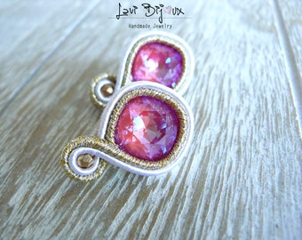 Small pink soutache earring with Swarovski, Soutache Earrings, Handmade Earrings, Embroidered, Soutache Jewelry, Handmade from Italy, OOAK