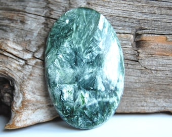 38x25mm Seraphinite cabochon gemstone pendant making supplies natural green gemstone stone
