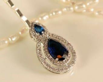Cobalt Blue Hair Pin Wedding Hair Pin 1920s Hairpiece Navy Blue Hair Pin Teardrop Sapphire Clear Pave Zirconia Sapphire Crystal Head Piece