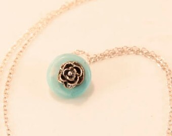 Teal Blue Necklace Vintage Flower Necklace Birthday Gift For Girl Daughter Niece Pia Sterling Silver Necklace Rose Pendant 925 Silver Flower