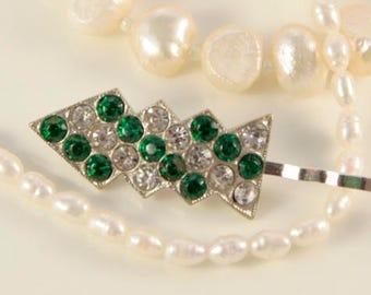 Antique Art Deco Emerald Hair Clip Gatsby Headpiece Clear Green Bobby Pin Christmas Tree Bridal Hair Accessory 1930s Rhinestone Vintage Gift