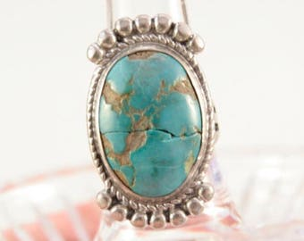 Cracked Stone Ring Witch Ring Navajo Arrow Native American Southwestern Ring Large Blue Green Cabochon Turquoise Love Ring Crown Enchantment