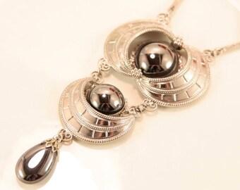 Black Hematite Necklace Hobe Necklace Art Deco Necklace Silver Antique Necklace Avant Garde Necklace Large Long Pendant Princess Necklace