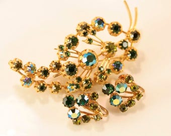 Emerald Brooch Set Wedding Brooch Earrings Set Bridal Green Earrings Something Old For Bride Austria Jewelry Set AB Rhinestones Demi Parure