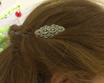 Pink Lace Barrette Bridal Hair Comb 1960 Hairpiece Vintage Wedding  OOAK Beige Pink Clip Wedding Hair Clip Flat Bow For Princess Gift Idea