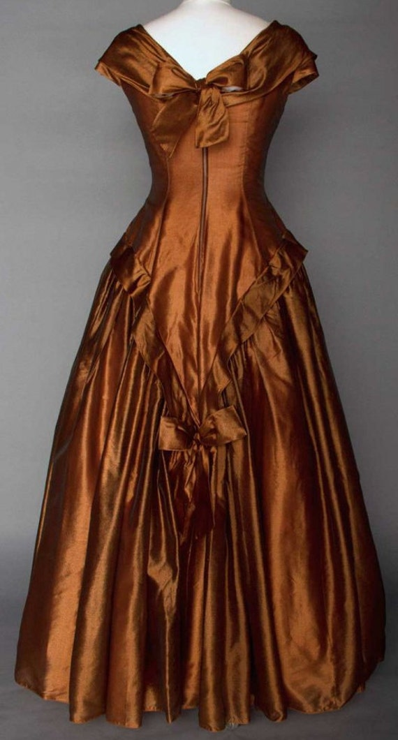 Gown Dress Dress 1950s Brown Silk Prom Clothing Party Vintage Golden Tnq6ww0FB
