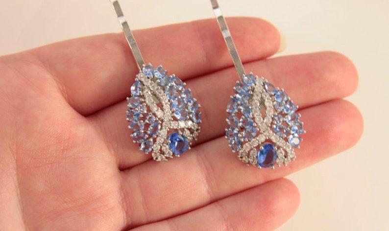 Blue Hair Pins Violet Blue Head Pins Lilac Blue Bridal Hair Pin Wedding Blue Pins Vintage Wedding Blue Hair Jewellery Art Deco Headpiece