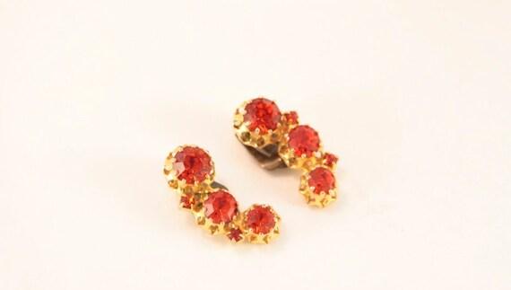 Orange Clip On Earrings Vintage Earrings Austria G