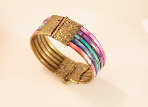 Rainbow Bracelet Vintage Mother of Pearl Bracelet… - image 5