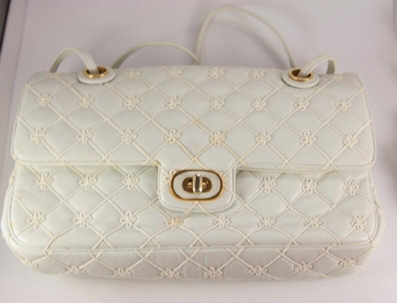 130cc6d66113 White Leather Handbag Bow Little Bag Cute Pattern Judith
