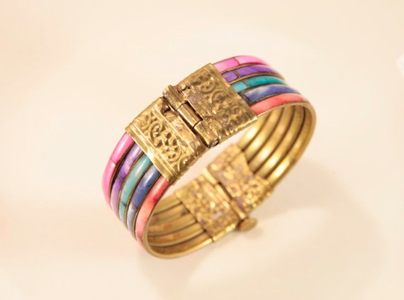 Rainbow Bracelet Vintage Mother of Pearl Bracelet… - image 7