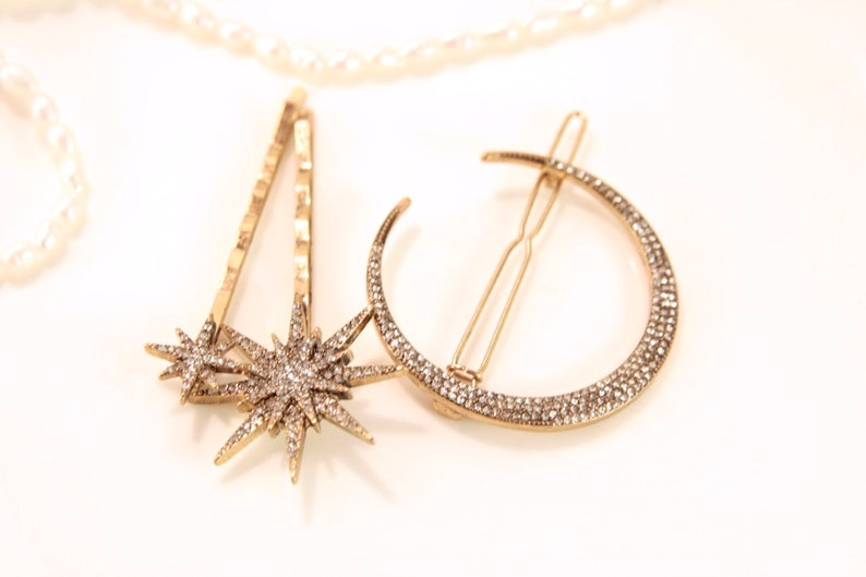 Star Hair Clip Set Star Hair Pins Celestial Hair image 0
