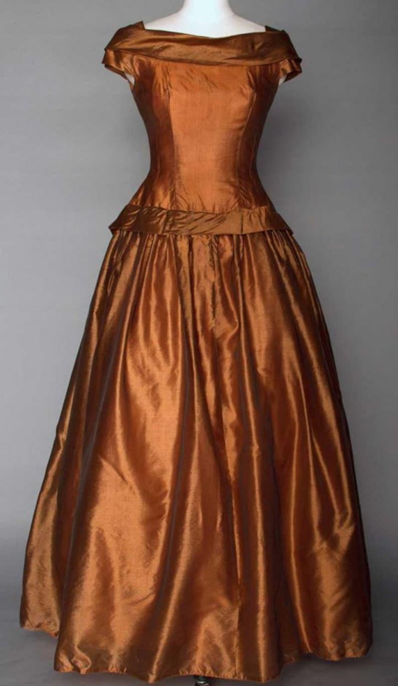 54e5d5963b2 Silk 1950s Prom Dress Party Dress Golden Brown Gown Vintage