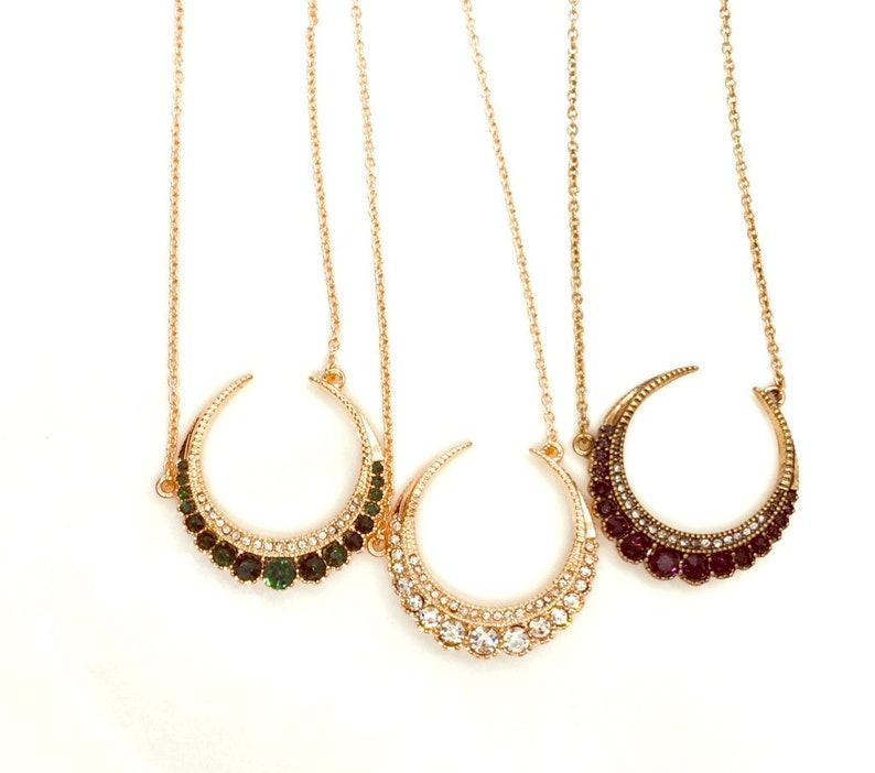 6e036db17dd65 Crystal Moon Necklace Gold Green Moon Necklace Red Moon Necklace Clear Moon  Pendant Witch Necklace Crescent Moon Rose Gold Bronze Wedding
