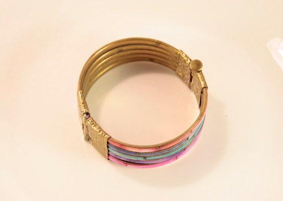 Rainbow Bracelet Vintage Mother of Pearl Bracelet… - image 3