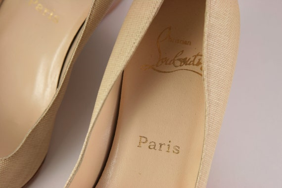 bois 5 Louboutin cuir 38 cales en in toile Italy Christian Made chaussures Beige 0dqq7g