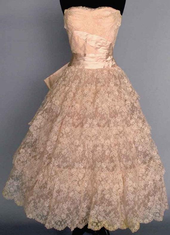 1950s Lace Wedding Dress, Vintage Wedding Dress, P