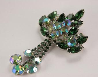 Green Dangle Brooch Large Unsigned Juliana DeLizza Green Brooch Emerald Peridot Rhinestone Silver Pin Brooch Luxury Jewelry