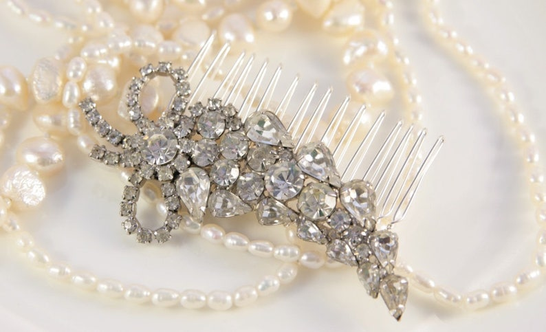Clear Crystal Bridal Comb Antique Leaf Elf Tiara Wedding Great Gatsby Headpiece Large Hair Clip Vintage 1920s OOAK Gift For Bride Bow Pin