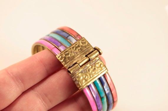 Rainbow Bracelet Vintage Mother of Pearl Bracelet… - image 6