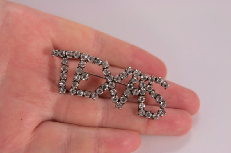 Texas Brooch Imitation Diamond Clear Rhinestones Vintage Brooch Pin City Logo Pin