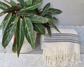 Luxury Wool and Egyptian Cotton Bath Towel - Cream and Black - 180 x 95cm