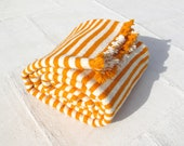 2010 Moroccan striped rug, throw, picnic blanket, orange,cream - Sara - 210x230cm