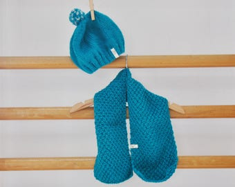 SALES - 20 % // Baby Hat and Scarf / Blue  // Birth Gift !