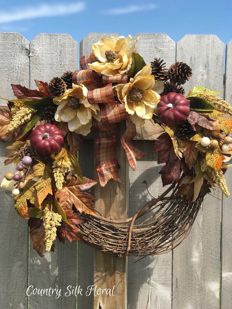 Thanksgiving wreath magnolia wreath Fall wreath Plum pumpkins country wreath elegant wreath