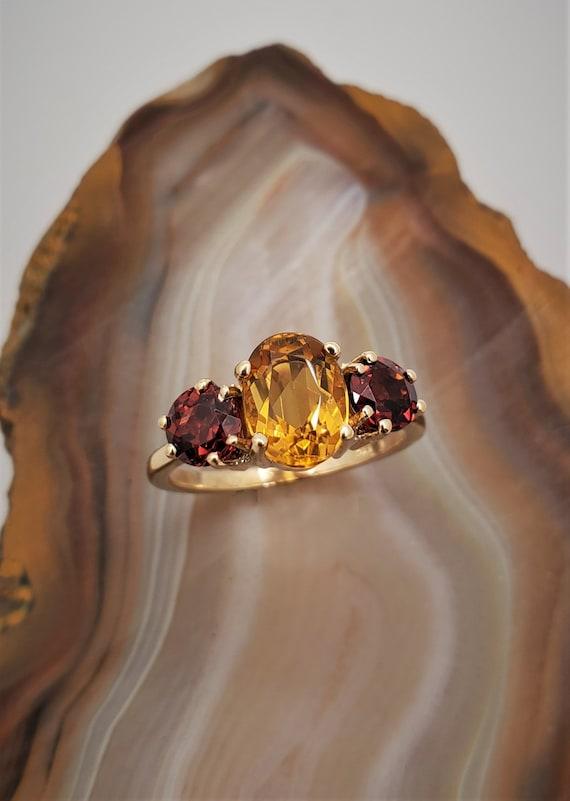 Vintage citrine garnet ring, 14k yellow gold three