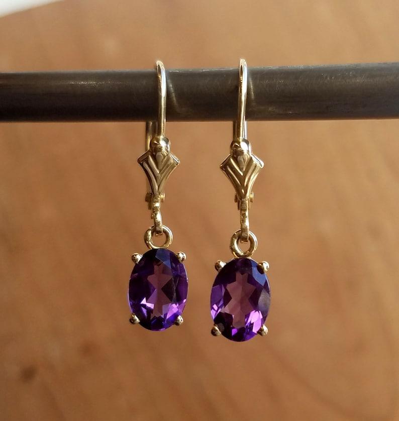 07f04675a Maine Amethyst 14k gold lever back drop earrings dangle | Etsy