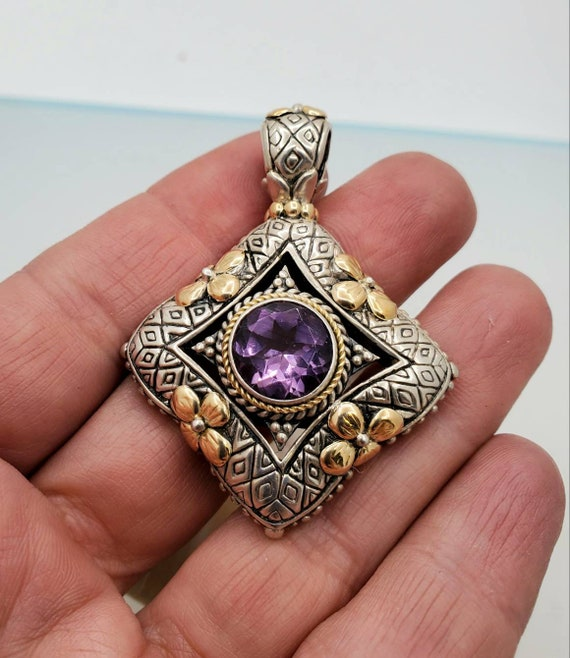 Vintage sterling silver amethyst pendant, silver … - image 4
