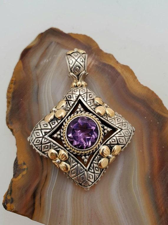 Vintage sterling silver amethyst pendant, silver … - image 1