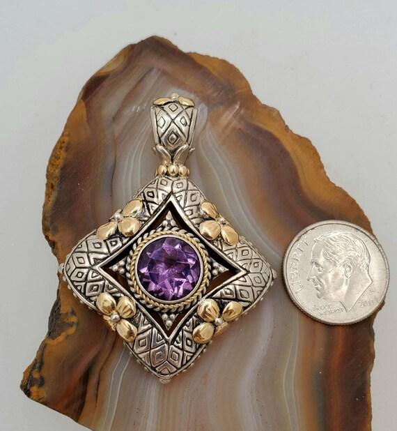 Vintage sterling silver amethyst pendant, silver … - image 3