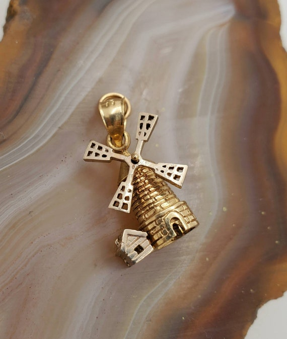 Vintage windmill charm or pendant, 14k yellow gold