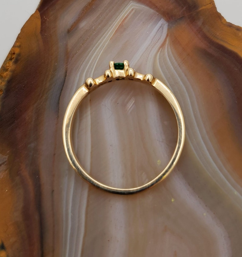 dainty ring low profile ring genuine emerald. Emerald 14k yellow gold ring