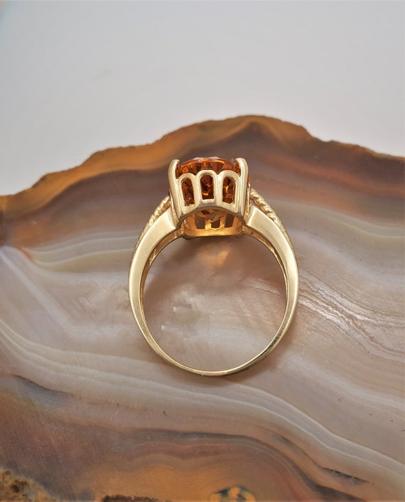 Vintage Citrine ring, 14k yellow gold solitaire r… - image 4