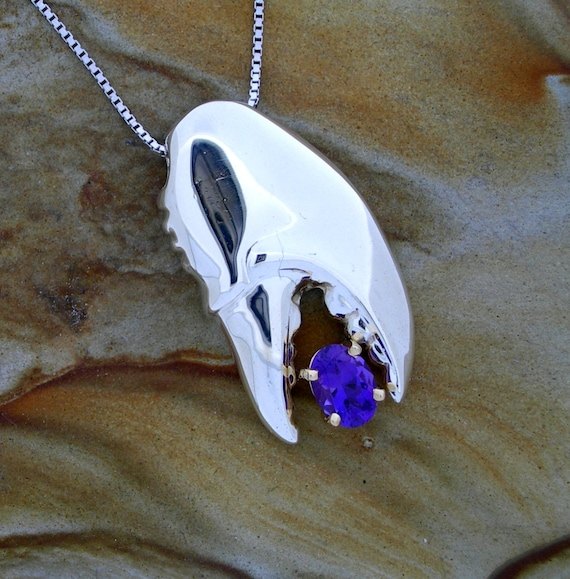 Lobster claw sterling silver necklace. Lobster claw pendant with Maine Amethyst